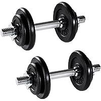 TecTake Set Mancuernas con Pesas Halteras Fitness Acero Hierro Musculación Gimnasio - varios modelos - (