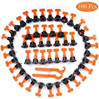 Tile Leveling System, 100 Pcs Reusable Tiles Leveler Spacers with Special Wrench, for Building Walls Floors
