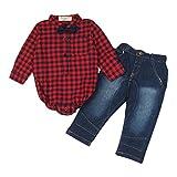 kingko® 1Réglez Infant Toddler Bébés garçons Grille Imprimer manches longues T-shirt Tops + Pantalons Tenues Vêtements (12M)