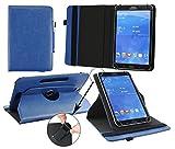 Emartbuy Denver TAQ-90052 9 Zoll Tablet Universal ( 9 - 10 Zoll ) Dark Blau Premium PU Leder 360GradRotierendeStandFolioGeldbörseTascheHülle + Blau Eingabestift