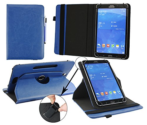 Emartbuy® Alcatel One Touch Pixi 3 (8.0) 4G 8 Zoll Tablet Universal (7-8 Zoll) Dark Blau Premium PU Leder 360GradrotierendeStandFolioGeldbörseTascheHülle + Blau Eingabestift