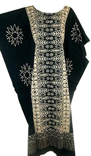 Cool Kaftans Damen Bluse Malaya Schwarz Violett Rot Feiner Batikdruck Baumwolle Strandkleid Übergröße Neu Schwarz