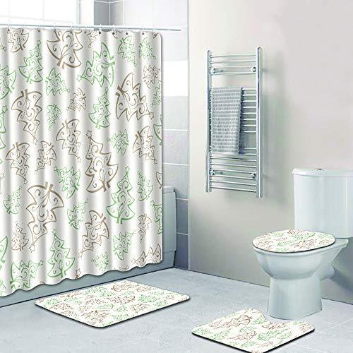 JLCP Weihnachten Duschvorhang Fußmatte 4-Teiliges Set Teppich Heim Wohnzimmer Badezimmer Dekoration Anti-Rutsch-Feuchtigkeit 180 * 180Cm 50 * 80 cm,2