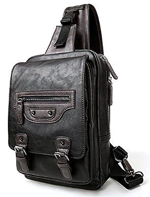 Everdoss Hommes sac de poitrine en cuir PU sac banane sac à bandoulière sac de messager sac de loisirs