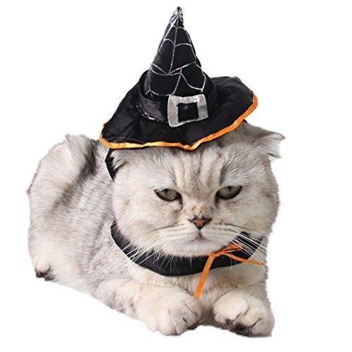 Haustier Hut, Legendog Haustier Hexe Hut Cap Verstellbarer Halloween Zauberer Hut Cosplay Kostüm Zusätze Partyhut für Katzen und Hunde