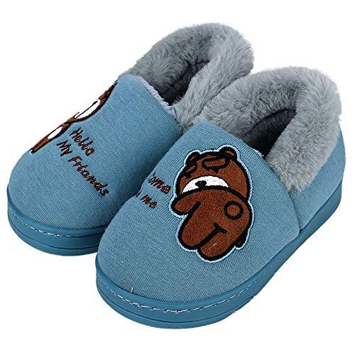 Amitafo pantofole unisex-bambino inverno cotone pantofole home morbido ragazzi ragazze antiscivolo e calde pelliccia interno ciabatte peluche casa pattini