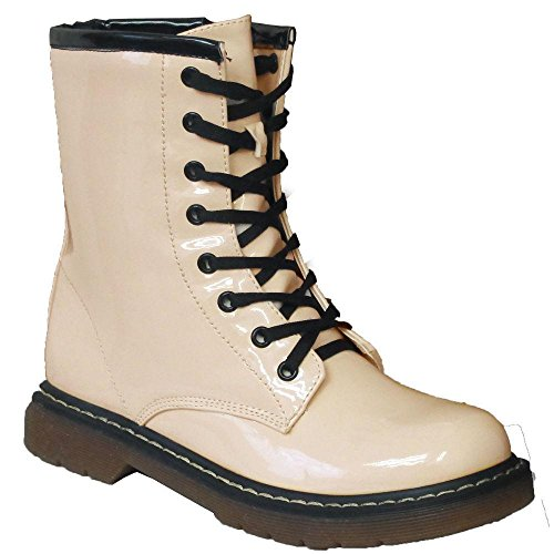ladies-ankle-retro-worker-combat-boot-womens-punk-emo-lace-funky-vintage-goth-boots-uk-6-eu-39-beige
