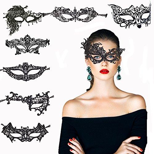 KAKOO 8 Modell Venezianische Maske Damen Spitze Augenmaske Gothic Maskerade Gesichtsmasken für Maskenball Kostüm Karneval Party (Mitternacht Braut Kostüm)