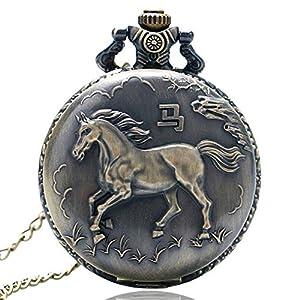 Vintage Taschenuhr, Bronze-Laufendes Pferd, Quarz-Taschenuhr für Damen und Herren, Taschenuhr, Geschenk zu Weihnachten