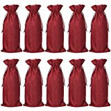 Jute Wine Bottle Bags with Drawstring,Reusable Bottle Decoration Covers Pouches for Wedding Party Favour Holiday