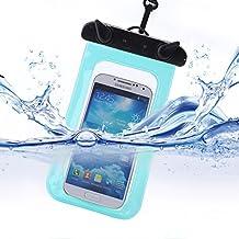 Crystal Clear Funda protectora impermeable bajo el agua bolsa bolsa para Apple Iphone, Samsung, HTC, y todo bajo 15,24cm Smartphones --- Completa resistente protección sellada altamente sensible, azul claro, 8.3 x 5.1 inches