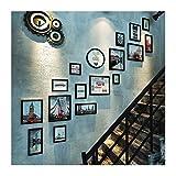 YIFNJCG Treppe Foto Wand Korridor europäischen Kleinen Wand kreative Kombination Massivholz Bilderrahmen Wand Korridor Fotowand (Farbe : B)