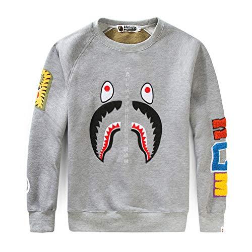 Shark Kinder Sweatshirt (Bape Embroidery Stitching Male Spring Autumn Men Women Couple Round Neck Long Sleeve Sweater Coat)