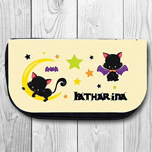 Kulturbeutel Kosmetiktasche im niedlichen Halloween Kätzchen Design - Mit Ihrem Wunschnamen personalisiert
