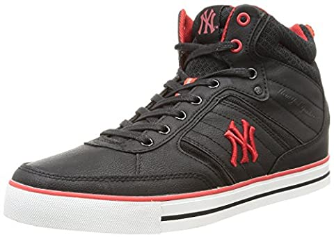 New York Yankees Vadim Black Red Mens Leather Mid Trainers-6.5