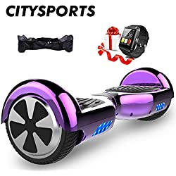 CITYSPORTS Hoverboard 6.5 Pouces + Hoverkart, Balance Board Smart Scooter 2x350W avec LED