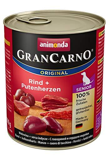 Animonda GranCarno Hundefutter Senior, Nassfutter für ältere Hunde ab 7 Jahren, aus  Rind und Putenherzen, 6er Pack (6 x 800g)