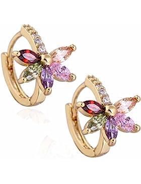 Yazilind Schmuck Charming Glatte 18K Gold vergoldet Blume Design- Inlay glänzend Rund Oval Kleine bunte Kristall...