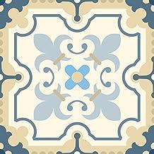 Set de 12 Azulejos Decorativos en Vinilo Adhesivo 15x15 cm Beige Almería