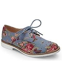 Ideal Shoes - Derbies imprimé fleuris avec semelle en gomme et strass Candice