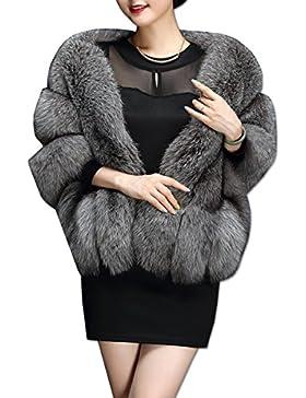[Patrocinado]KAXIDY Mujer Ropa de Abrigo Piel Sintética Ponchos Capas Ropa de Abrigo Chaquetas