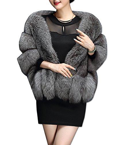 KAXIDY Mujer Ropa de Abrigo Piel Sintética Ponchos Capas Ropa de Abrigo Chaquetas (Gris)