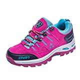 WWricotta Men and Women Outdoor Casual Lace-up Comfortable Running Mountaineering Shoes(Hot Pink,38)