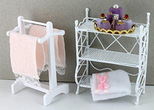 Preisvergleich Produktbild Badregal, Handtuchhalter, Handtücher und Tablett mit Parfümflaschen