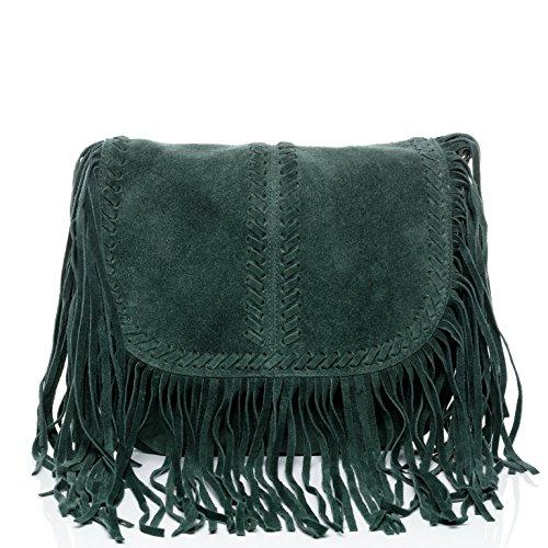 19ac1feb6c22c BACCINI Schultertasche SARAH - Umhängetasche klein - Damentasche mit Fransen  - echt Wildleder blau grün ...