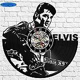 NIGHT BLACK Der Film Elvis Presley Vinyl Record DIY Design 3D Kunst Spiegel Wanduhr Vinyl Record Clock Wand Kunst Home Decor, wgreat Geschenk für Geburtstag, Jubiläum oder eine andere Gelegenheit
