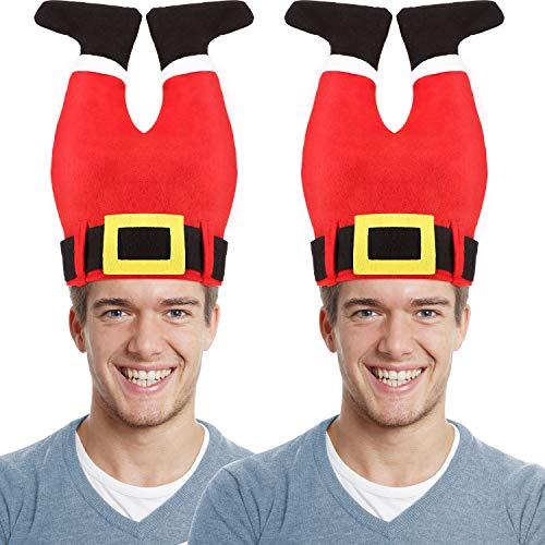 SATINIOR 2 Stücke Santa Pants Hut Lustiger Hut Neuheit Santa Christmas Hut Verrückt Santa Pants Hut für Weihnachten Zubehör Party Lieferungen