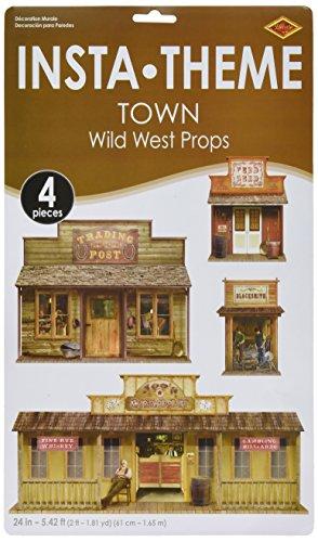 Beistle 52038 Wild West Town Requisiten, bedruckt, 61 cm bis 152 cm, 4 Stück