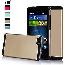 Huawei P8 Lite Funda, Funda Huawei P8 Lite, Fyy [Series de Primera Categoría] Funda de Alta Calidad Cuero de Gran Alcance para Huawei P8 Lite Dorado