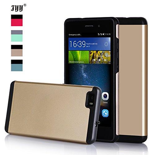 Huawei P8 Lite Hülle, Fyy® [Vibrant Series] 2-in-1 leichtgewichte Schutzhülle mit hybirden doppelten Schichten (Plastik Harte Hülle und Flexibele TPU) für Huawei P8 Lite Hülle,Gold×Schwarz