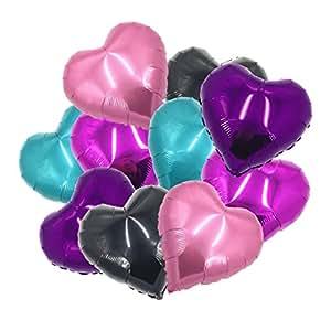 """ballonfritz Herz-Luftballon-Set in Violett/Pink/Rosa/Schwarz/Türkis 10-tlg. - XXL 18"""" Folienballon-Set als Hochzeit Deko, Geschenk oder Liebes-Überraschung zum Valentinstag"""