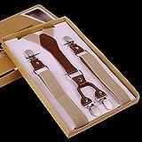 Panegy Unisex Y-Form 4 Clips Hosenträger Damen Herren Hoch Elastisch Hosenträger Längenverstellbar 2.5*105cm - Einfarbig Beige