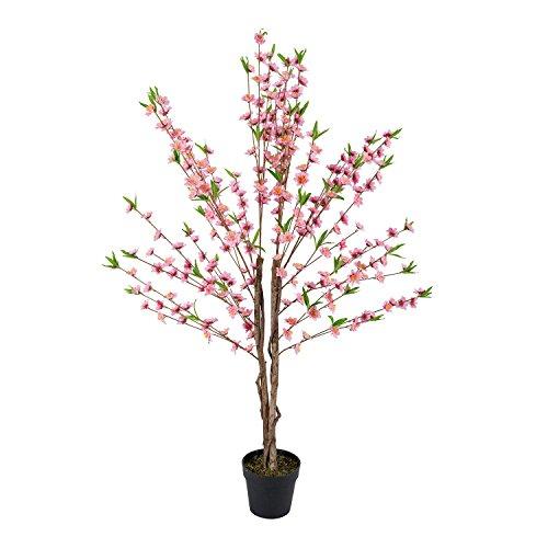 Homescapes Kunstbaum mit Pinken Kirschblüten, mit Echtholzstamm, 155cm Hoch