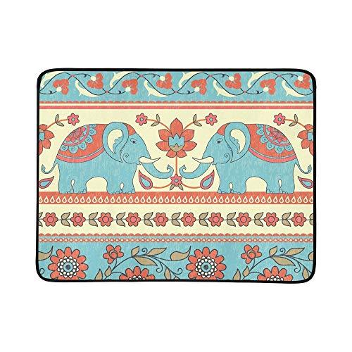 KAOROU Elefantes, Flores, Rayas étnicas, portátiles y Plegables, Mantas de 60x78 Pulgadas,...