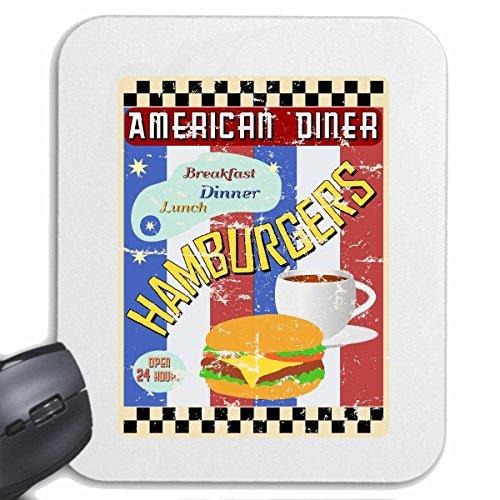 Mousepad (Mauspad) AMERICAN DINER HAMBURGER CHEESEBURGER KAFFEE SALAT FRÜHSTÜCK MITTAGESSEN DIÄT ABNEHMEN KALORIEN FIGUR FITNESS BMI FETTGEWEBE DICK DÜNN FIGUR BETONT BAUCHUMFANG für ihren