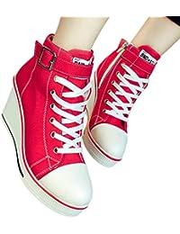 d997987e84 Zapatillas de Cuña Mujeres, Moda Cordones y Cremallera Zapatos de Lona Mujer  Cuñas Altas Tacón