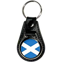 Scotland Flag - Portachiavi Chrome Medallion Ecopelle