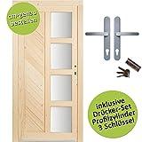 kuporta Fichte Mehrzwecktür nach Maß Holzburg DIN rechts SIZE Kellertür Eingangstür Garagentür Holztür mit Drücker/Drücker-Set
