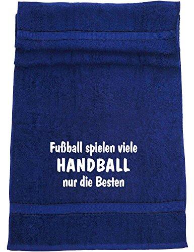 ShirtShop-Saar Fußball Spielen viele, Handball Badetuch Sport, dunkelblau