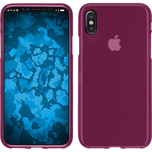 PhoneNatic Custodia Apple iPhone X Cover bianco stuoia iPhone X in silicone Case Rosa caldo