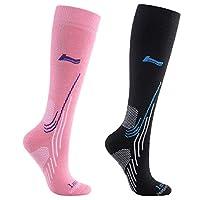 Laulax Ladies 2 Pairs High Quality Merino Wool Ski Socks, Gift Set, Size UK 3-8 / Europe 36-41, Black, Pink
