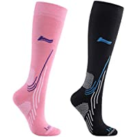 Laulax Ladies 2 Pairs High Quality Merino Wool Winter Ski Socks, Size UK 3-7 / Europe 36-40, Gift Set, Black, Pink