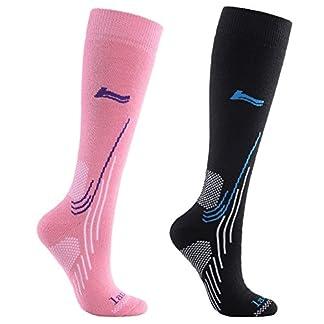 Laulax Ladies 2 Pairs High Quality Merino Wool Winter Ski Socks, Size UK 3-7 / Europe 36-40, Gift Set, Black, Pink 10