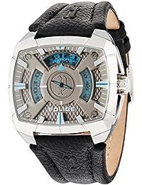 G Force–Policía Hombre Reloj de cuarzo con Esfera Analógica Gris y Negro Correa de piel 14796js/61