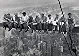 Happy Fans Eating Above Manhattan-New-York XXL Poster, Papier, Mehrfarbig, 100 x 140cm