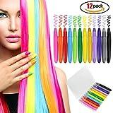 Haarkreide für Mädchen und Kinder. 12er Set mit bunte Haarkreide, temporärer Glitzer für die Haare, Haarfarben, Geburtstagsgeschenk.